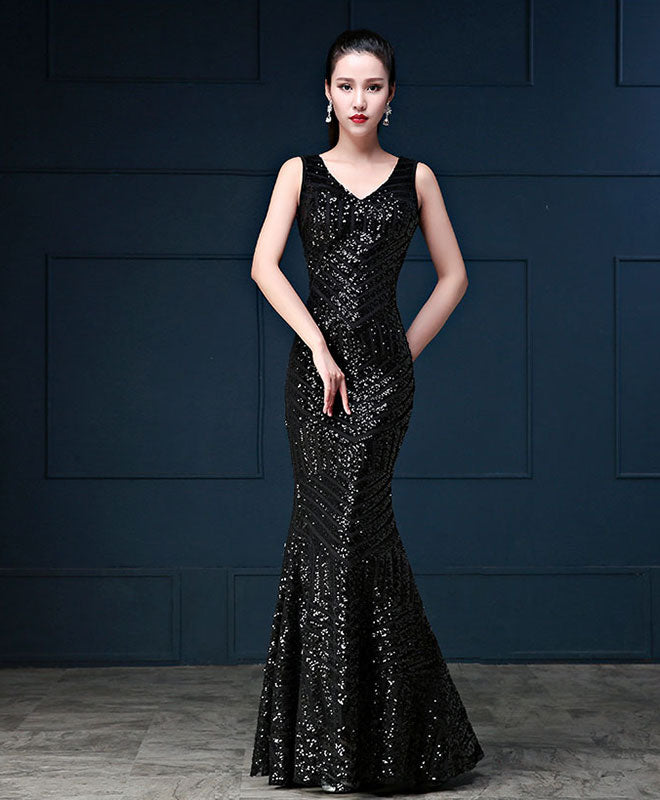 Mermaid sequins long prom dress, mermaid evening dress