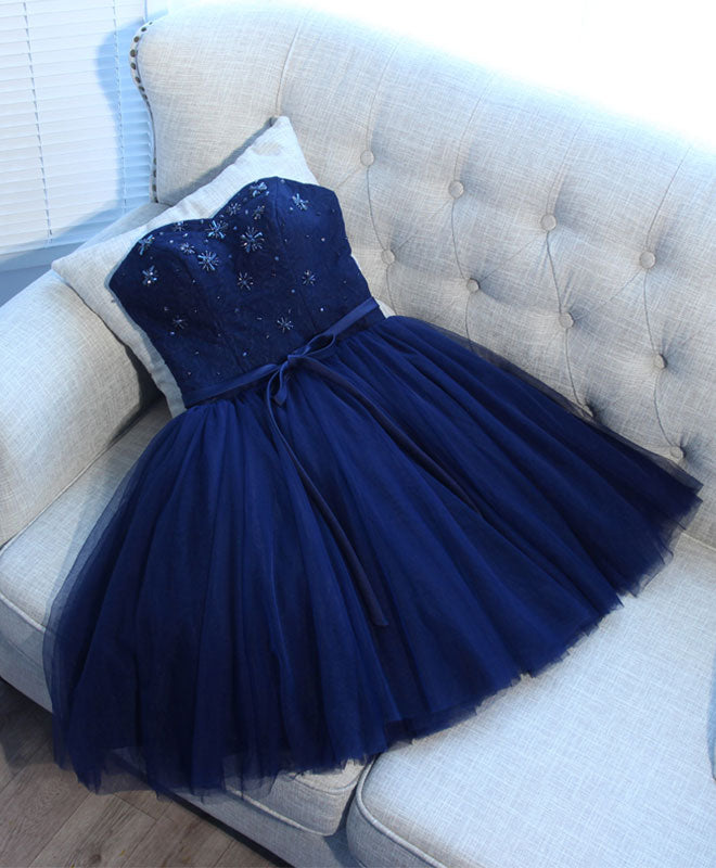 Blue sweet neck tulle short prom dress, cheap evening dress