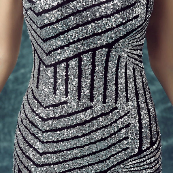 Mermaid silver sequins long prom dress, evening dress