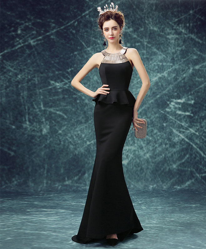 Mermaid black long prom dress, mermaid evening dress