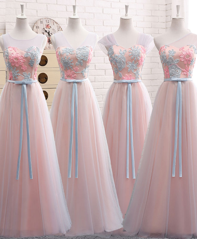 Pink A line lace tulle long prom dress, bridesmaid dress