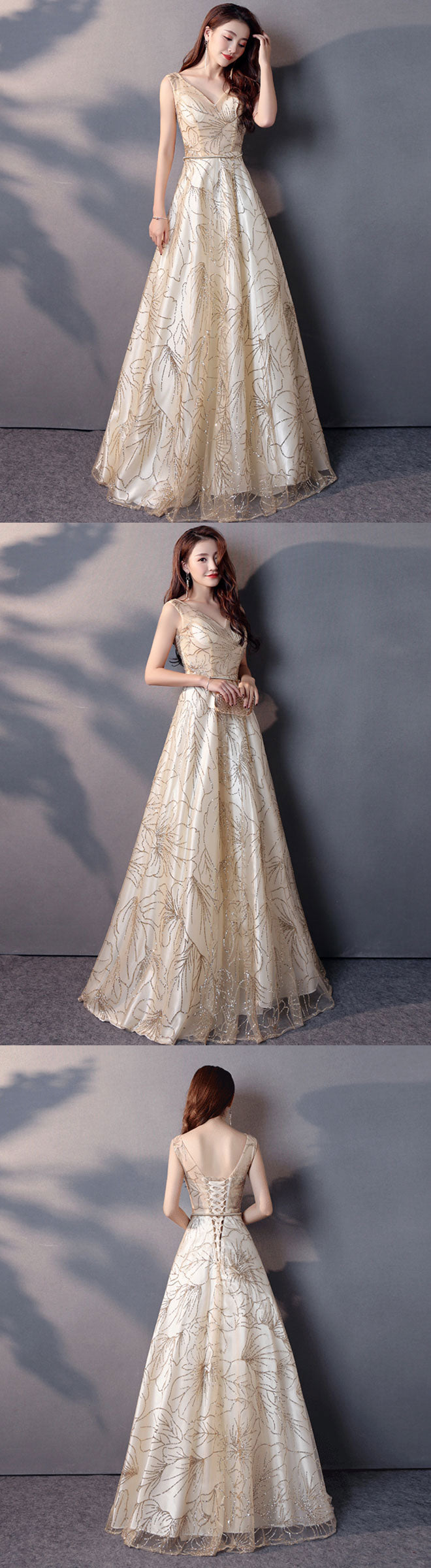 Champagne v neck long prom dress, evening dress