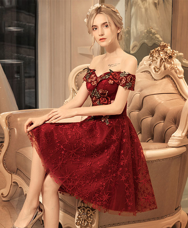 9d4b3dfdcb2 Burgundy lace off shoulder short prom dress