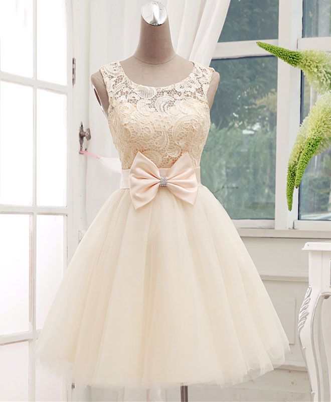Lovely champagne lace tulle short prom dress, homecoming dress