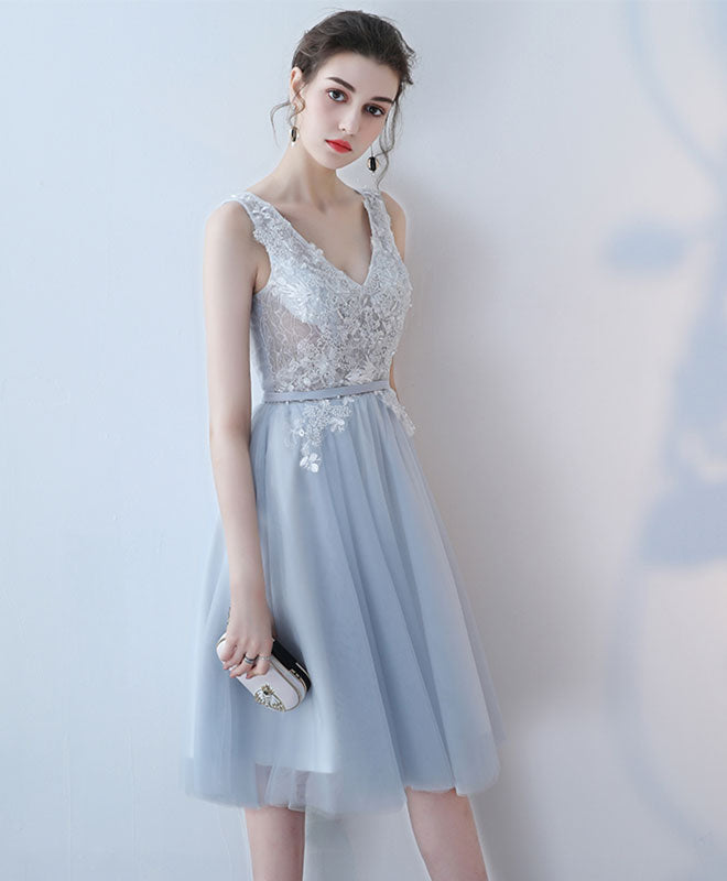 Cute v neck lace tulle short prom dress, homecoming dress