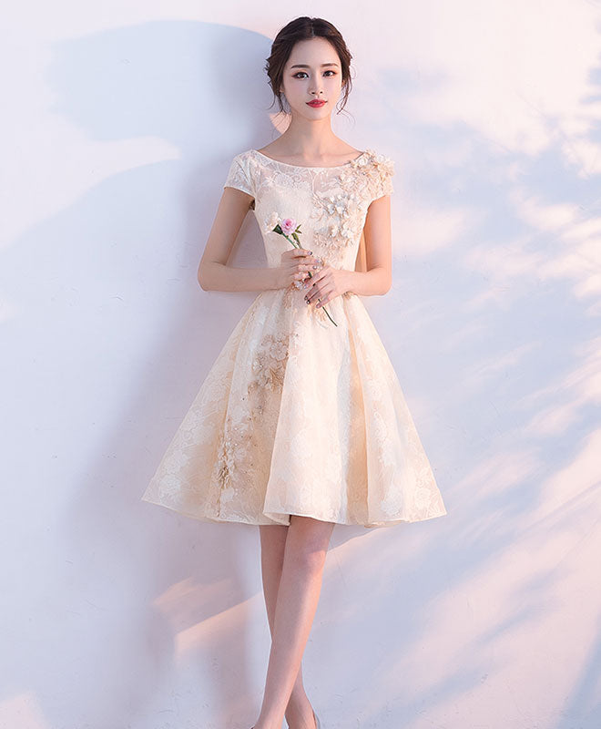 Champagne A-line tulle lace short prom dress, Champagne evening dress