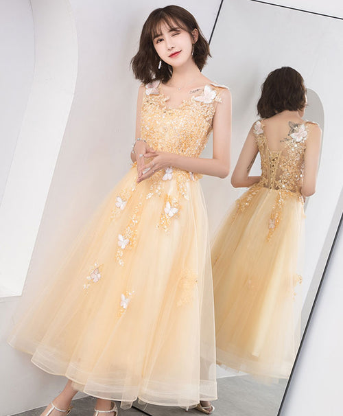 Champagne lace tulle short prom dress, homecoming dress