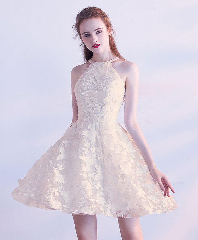 White short prom dress, cute homecoming dress