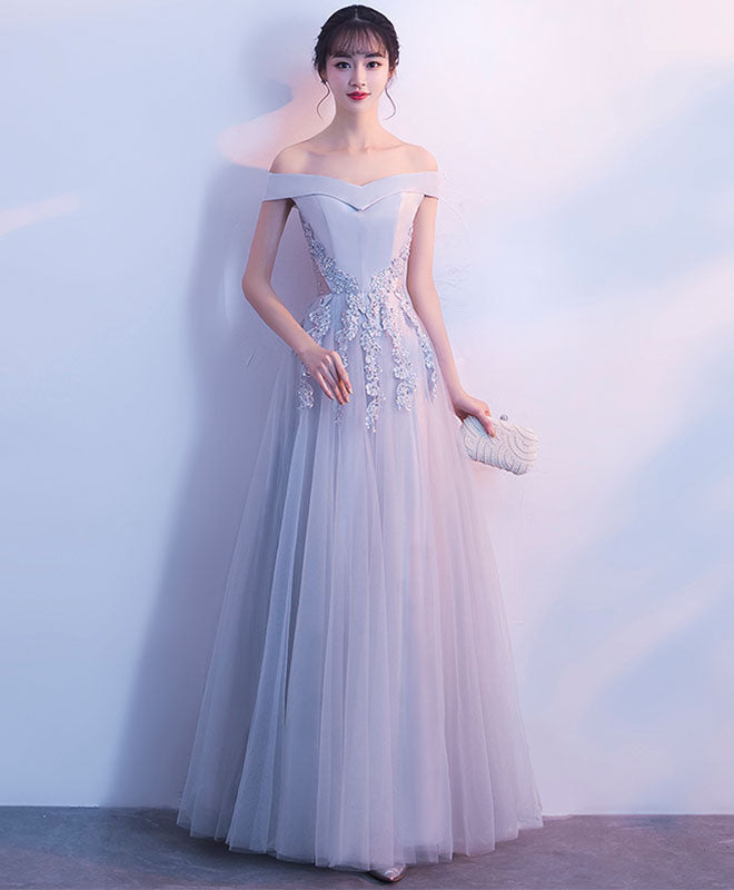 Gray tull lace off shoulder long prom dress, evening dress