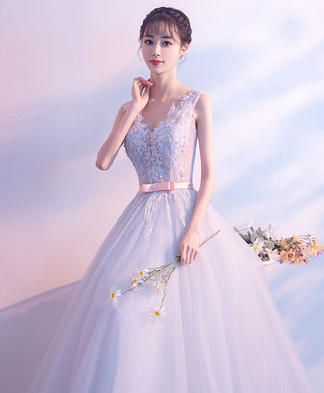Gray tulle lace v neck long prom dress, evening dress