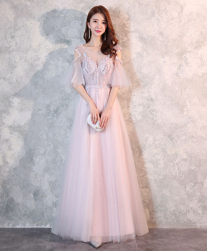 Cute tulle lace long prom dress, evening dress