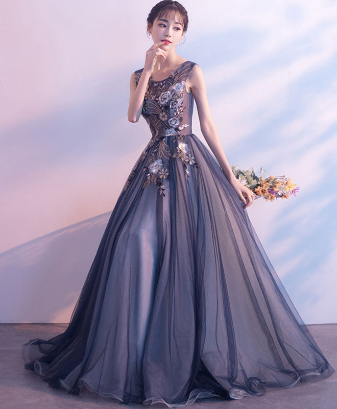 Dark gray tulle lace long prom dress, evening dress