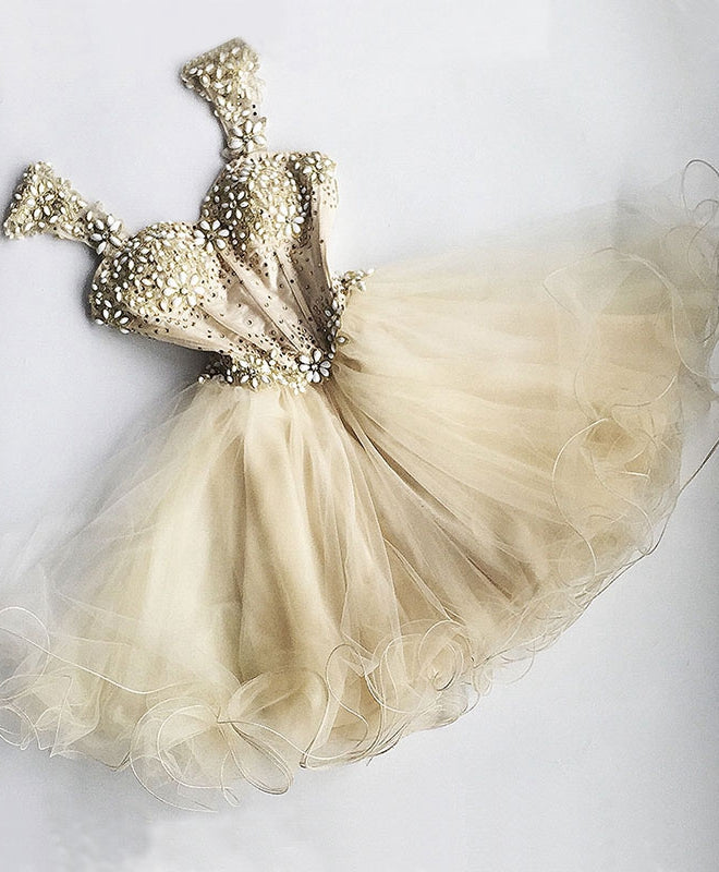 Champagne tulle beading short prom dress, champagne evening dress