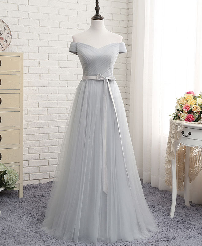 Gray A line tulle off shoulder long prom dress, cheap evening dress