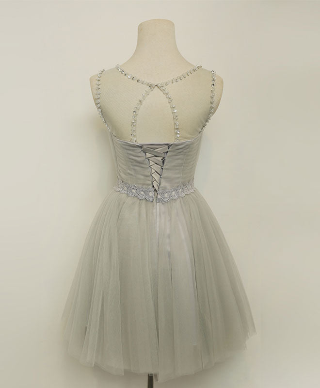 Cute a line gray tulle short prom dress, homecoming dresses