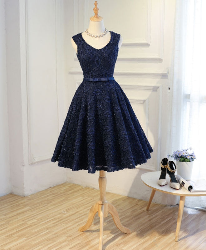 Dark blue lace short prom dress, blue homecoming dress