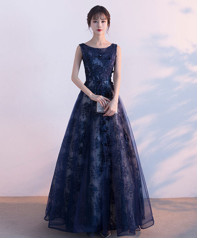 Elegant blue lace tulle long prom dress, blue evening dress