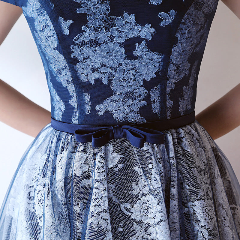 Dark blue lace short prom dress, homecoming dress