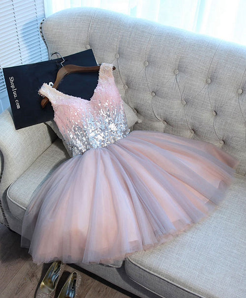 Cute pink v neck tulle seqsuins short prom dress, cocktail dress