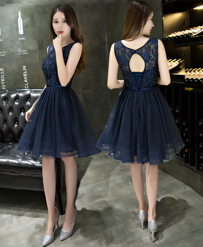Dark blue lace beading short prom dress, dark blue evening dress ...