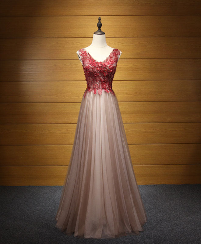 8ed8b26098d Elegant v neck tulle lace applique long prom dress