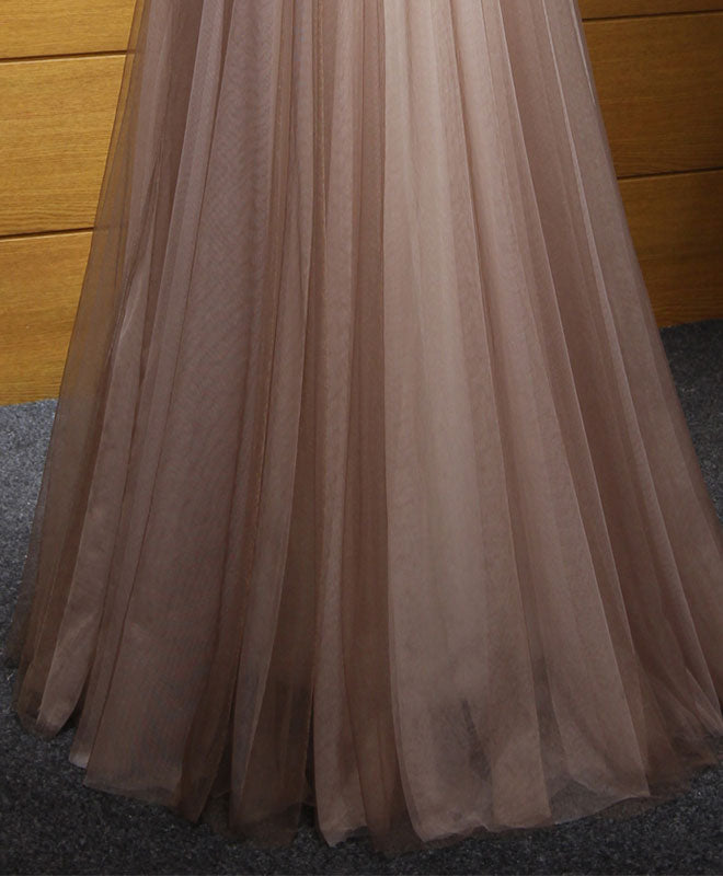 Elegant v neck tulle lace applique long prom dress, evening dress