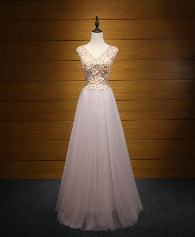 Elegant v neck tulle lace long prom dress, evening dresses