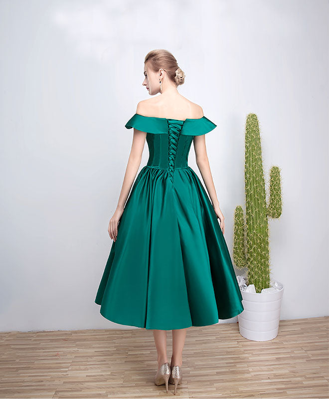 Green satin short prom dress, green evenig dress