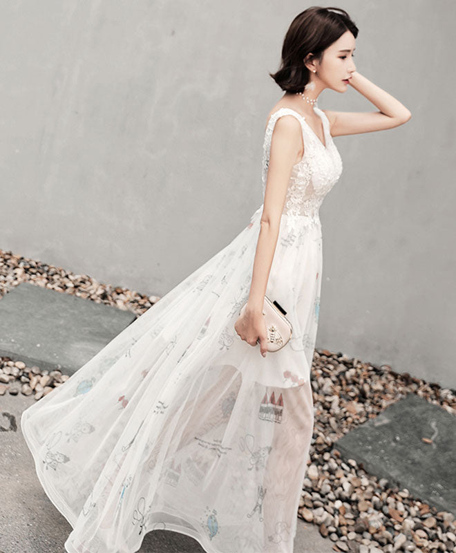 White v neck lace tulle long prom dress, evening dress