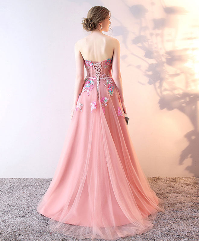 Stylish tulle lace long prom dress, lace evening dress