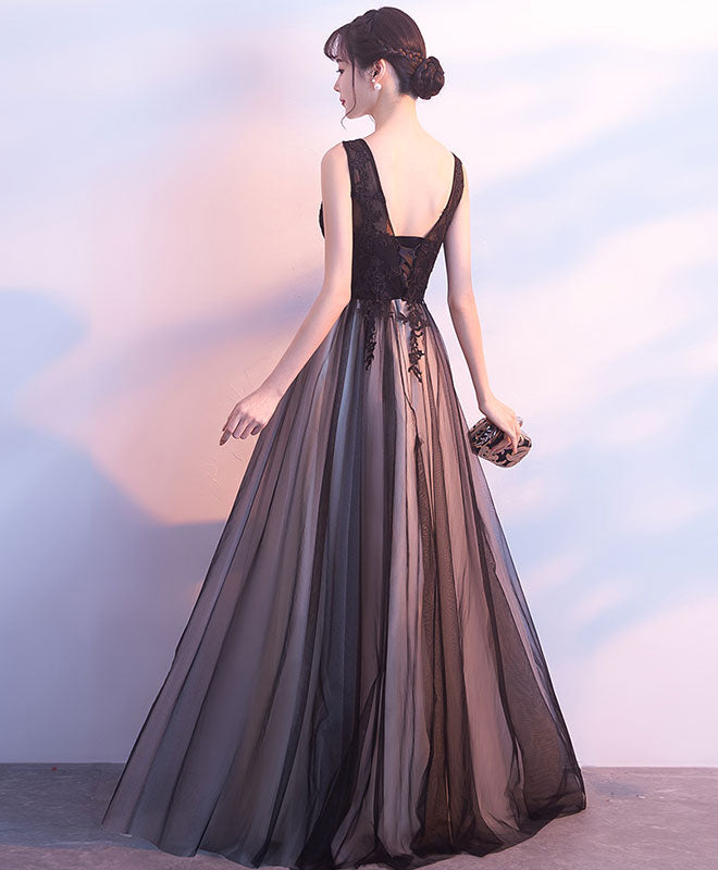 Black tulle v neck long prom dress,black evening dress