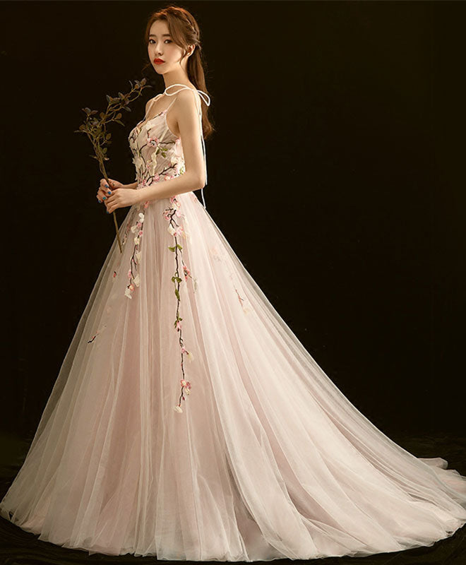 High quality v neck lace long prom dress, light pink evening dress