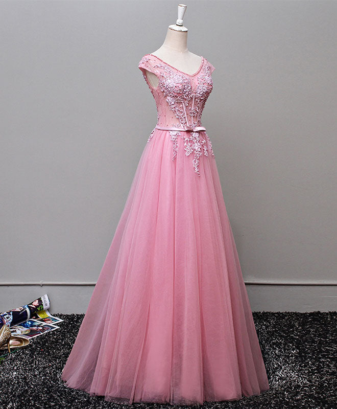 A line v neck tulle long prom dress, lace evening dress