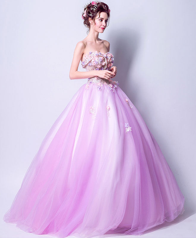 Cute sweetheart neck tulle long prom dress, formal dress