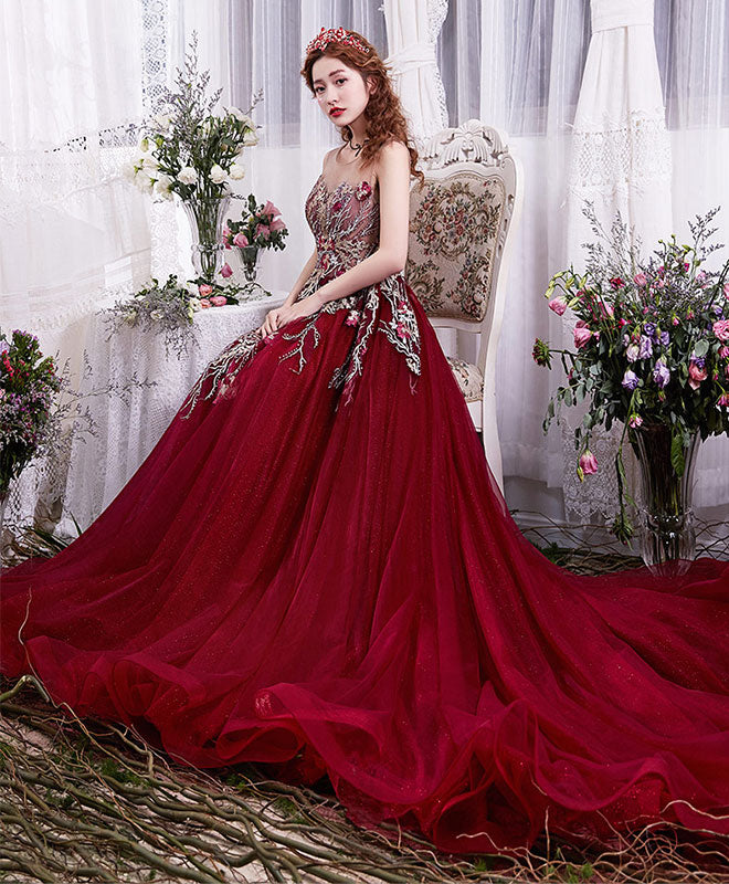 Burgundy lace tulle long prom dress, evening dress