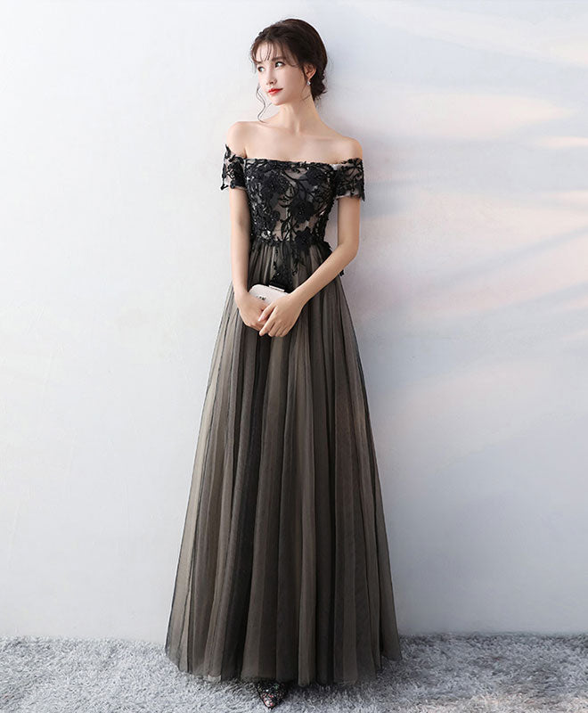 ac0f87afc8 Black lace tulle long prom dress, black evening dress | Shop Elegant ...