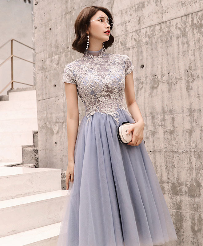 Gray round neck tulle lace short prom dress, homecoming dress
