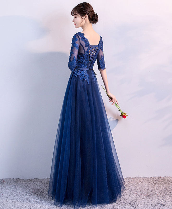 Blue tulle lace long prom dress, lace evening dress