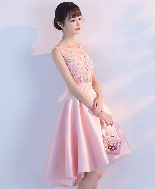 Pink lace short prom dress, high low evening dress