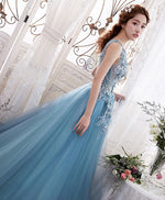 Blue round neck lace long prom dress, blue evening dress