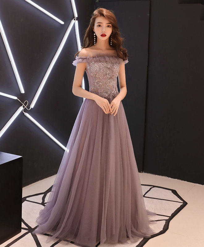 Unique lace tulle long prom dress, evening dress