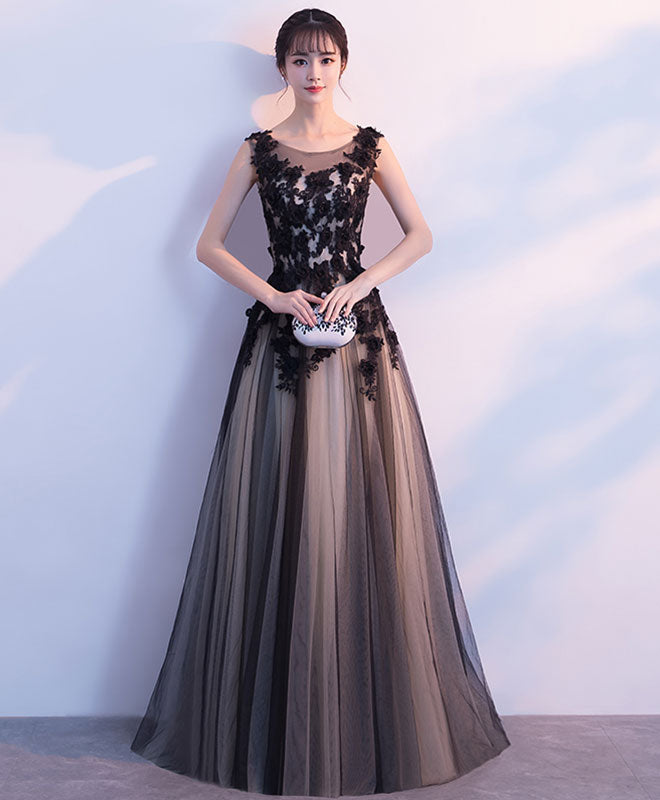 Black tulle round neck long prom dress,black evening dress