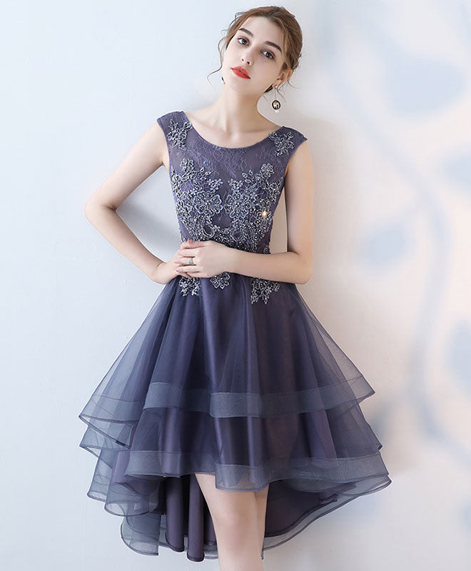 Cute lace high low prom dress, lace evening dress