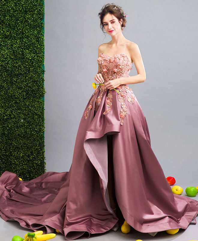 Unique lace sweetheart neck long prom dress, evening dress