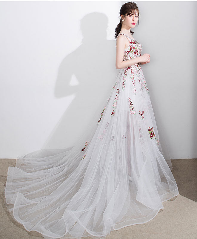 White A line lace tulle floor length prom dress, white evening dress