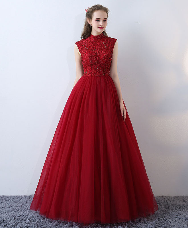 Burgundy high neck lace long prom dress, formal dress