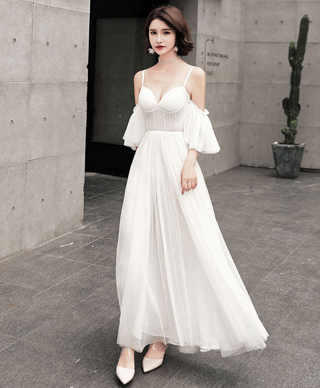 Unique tulle long prom dress, white evening dress