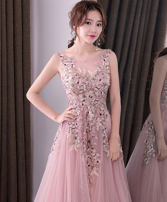 Pink round neck tulle long prom dress, lace evening dress