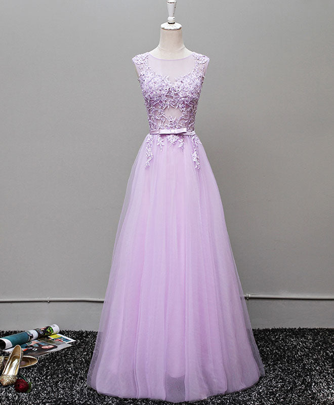 Custom made round neck tulle long prom dress, evening dress