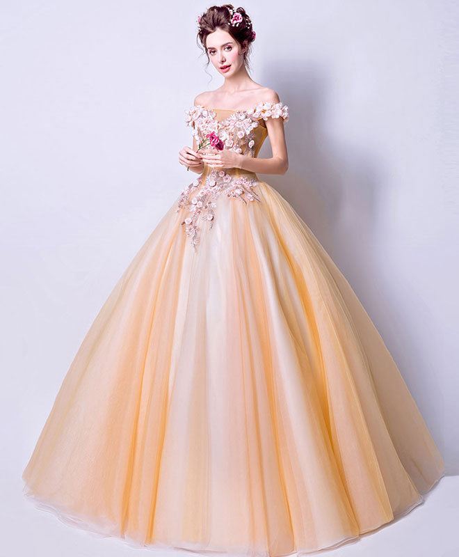 Amazing tulle 3D flowers long prom gown, evening dress